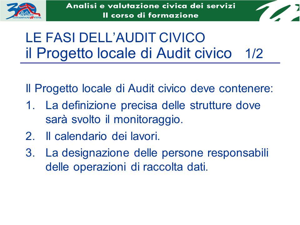 LE FASI DELLAUDIT CIVICO il Progetto locale di Audit civico 1/2 Il Progetto locale di Audit civico deve contenere: La definizione precisa delle strutture dove sarà svolto il monitoraggio.