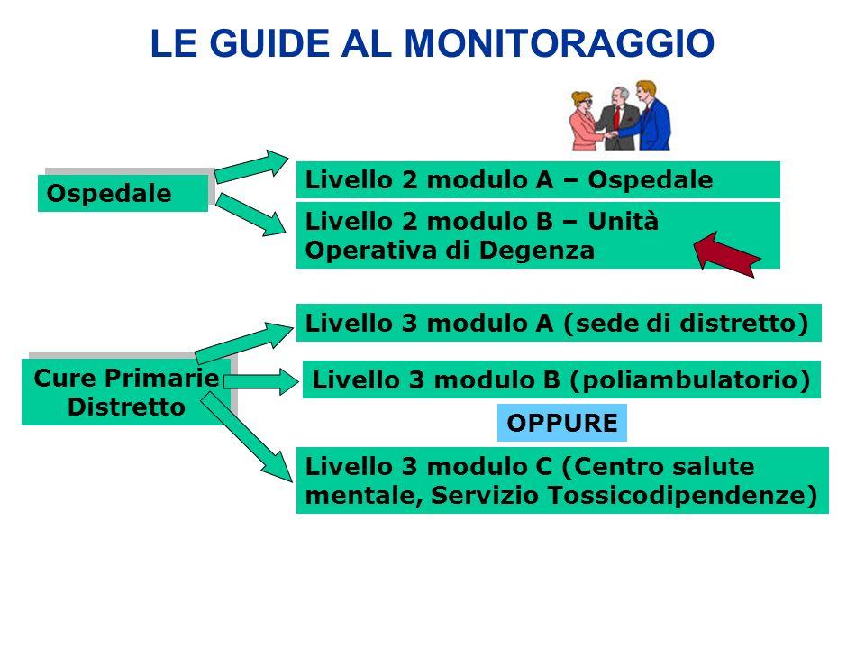 LE GUIDE AL MONITORAGGIO Ospedale Cure Primarie Distretto Livello 2 modulo A – Ospedale Livello 3 modulo A (sede di distretto) Livello 3 modulo B (poliambulatorio) Livello 3 modulo C (Centro salute mentale, Servizio Tossicodipendenze) Livello 2 modulo B – Unità Operativa di Degenza OPPURE