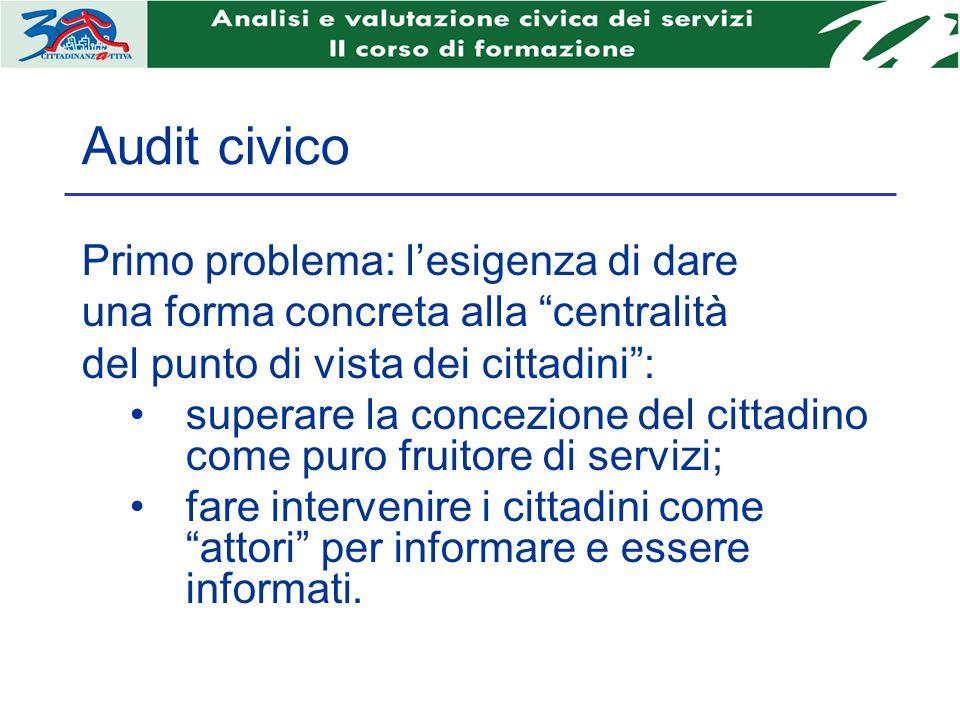 Audit civico Primo problema: lesigenza di dare una forma concreta alla centralità del punto di vista dei cittadini: superare la concezione del cittadi