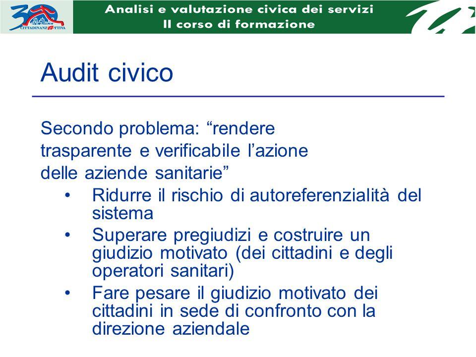 Audit civico Secondo problema: rendere trasparente e verificabile lazione delle aziende sanitarie Ridurre il rischio di autoreferenzialità del sistema