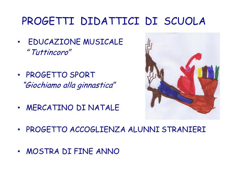 PROGETTI DIDATTICI DI SCUOLA EDUCAZIONE MUSICALE Tuttincoro PROGETTO SPORT Giochiamo alla ginnastica MERCATINO DI NATALE PROGETTO ACCOGLIENZA ALUNNI S