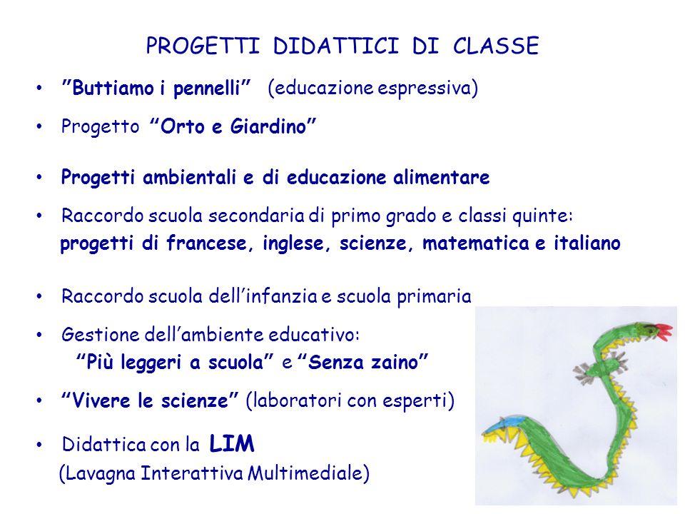 PROGETTI DIDATTICI DI CLASSE Buttiamo i pennelli (educazione espressiva) Progetto Orto e Giardino Progetti ambientali e di educazione alimentare Racco