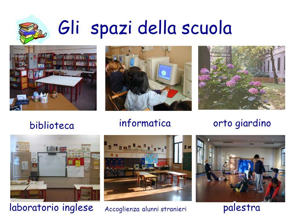 Gli spazi della scuola biblioteca informaticaorto giardino laboratorio inglese Accoglienza alunni stranieri palestra