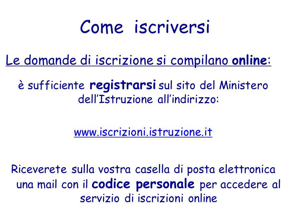 Come iscriversi Le domande di iscrizione si compilano online: è sufficiente registrarsi sul sito del Ministero dellIstruzione allindirizzo: www.iscriz