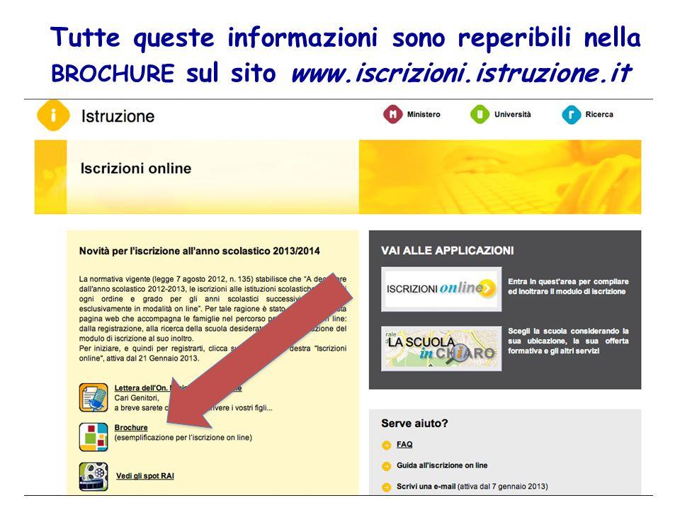 Tutte queste informazioni sono reperibili nella BROCHURE sul sito www.iscrizioni.istruzione.it
