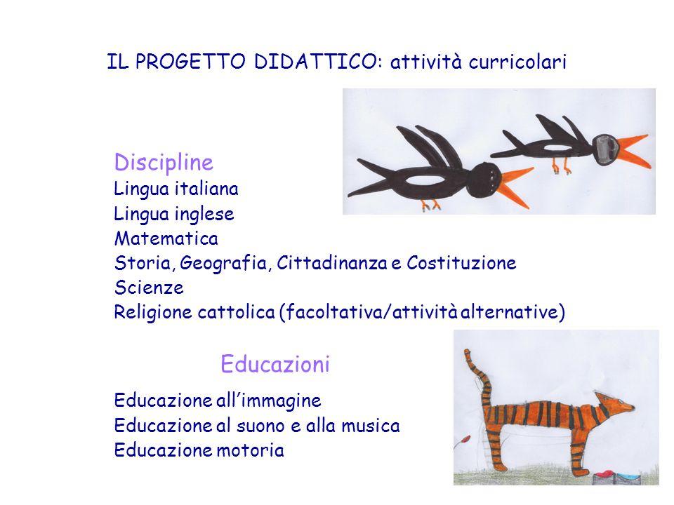 IL PROGETTO DIDATTICO: attività curricolari Discipline Lingua italiana Lingua inglese Matematica Storia, Geografia, Cittadinanza e Costituzione Scienz