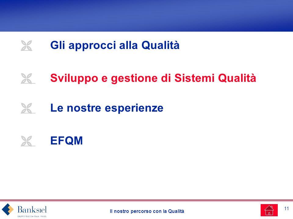 11 Il nostro percorso con la Qualità Gli approcci alla Qualità Sviluppo e gestione di Sistemi Qualità Le nostre esperienze EFQM