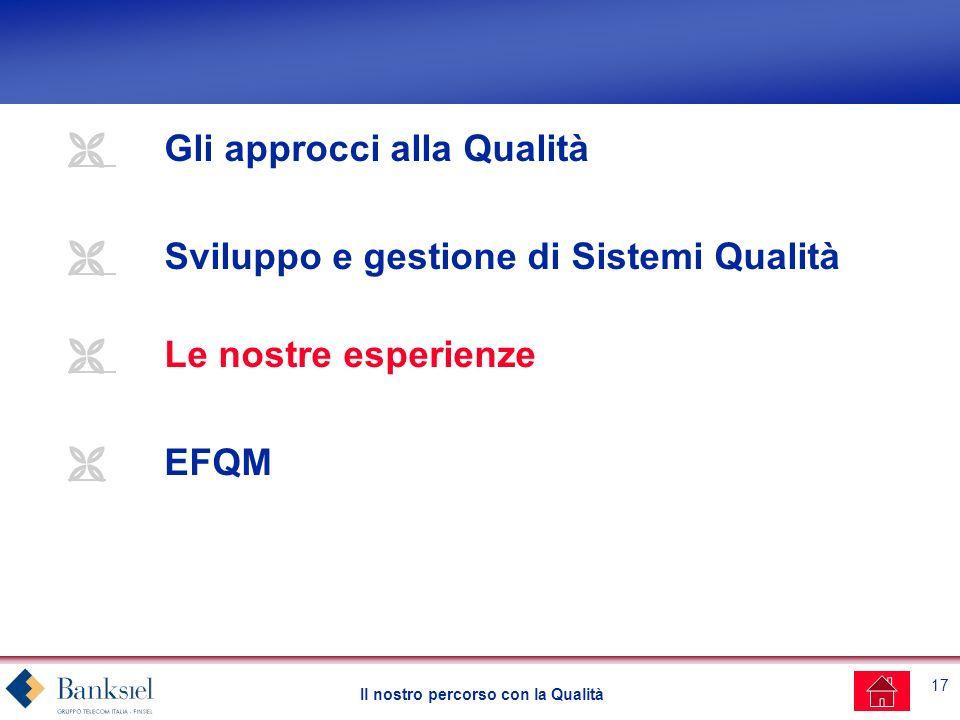 17 Il nostro percorso con la Qualità Gli approcci alla Qualità Sviluppo e gestione di Sistemi Qualità Le nostre esperienze EFQM