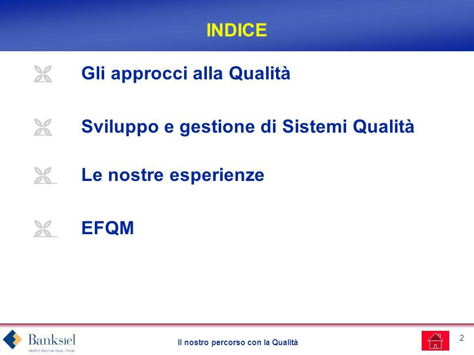 2 Il nostro percorso con la Qualità INDICE Gli approcci alla Qualità Sviluppo e gestione di Sistemi Qualità Le nostre esperienze EFQM