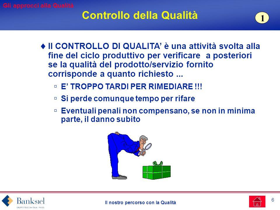 6 Il nostro percorso con la Qualità Controllo della Qualità Il CONTROLLO DI QUALITA è una attività svolta alla fine del ciclo produttivo per verificare a posteriori se la qualità del prodotto/servizio fornito corrisponde a quanto richiesto...