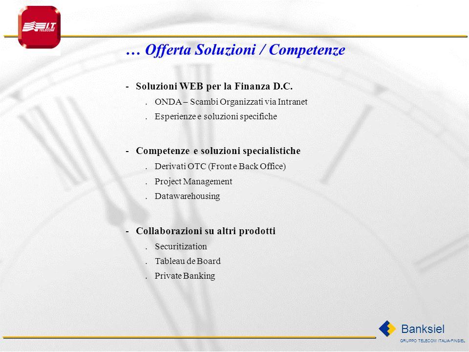 GRUPPO TELECOM ITALIA-FINSIEL Banksiel Offerta Soluzioni / Competenze … -Business integration sistemi di Front Office.Competenze su diversi prodotti d