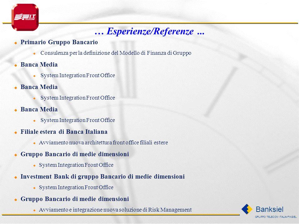 GRUPPO TELECOM ITALIA-FINSIEL Banksiel Primario Gruppo Bancario Integrazione sistemi di Front Office Integrazione Information Provider e Dealing Syste