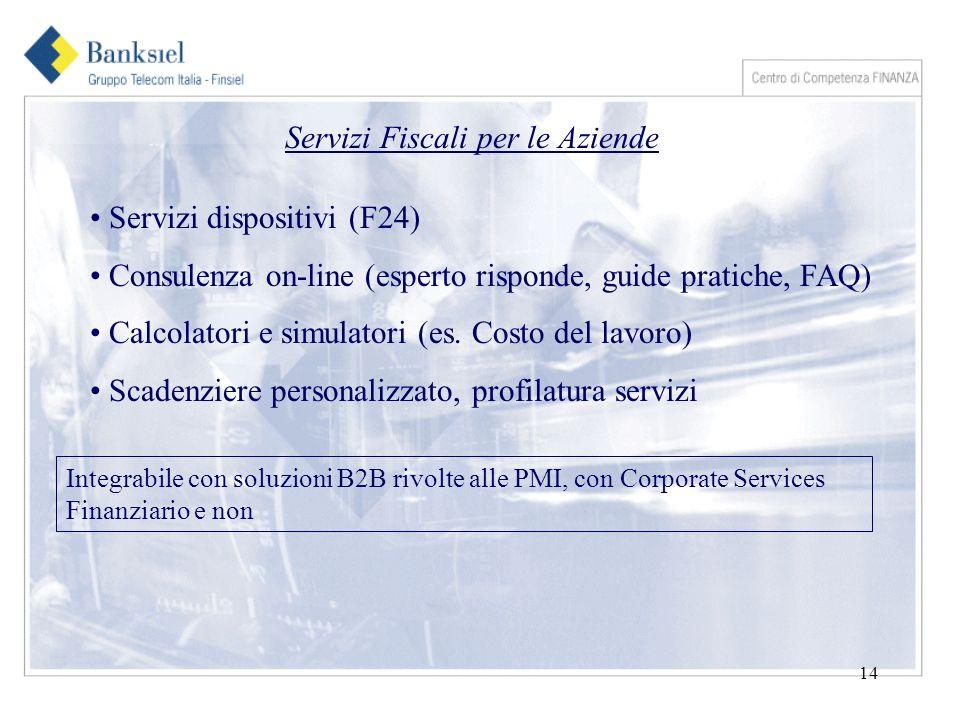 14 Servizi Fiscali per le Aziende Servizi dispositivi (F24) Consulenza on-line (esperto risponde, guide pratiche, FAQ) Calcolatori e simulatori (es.