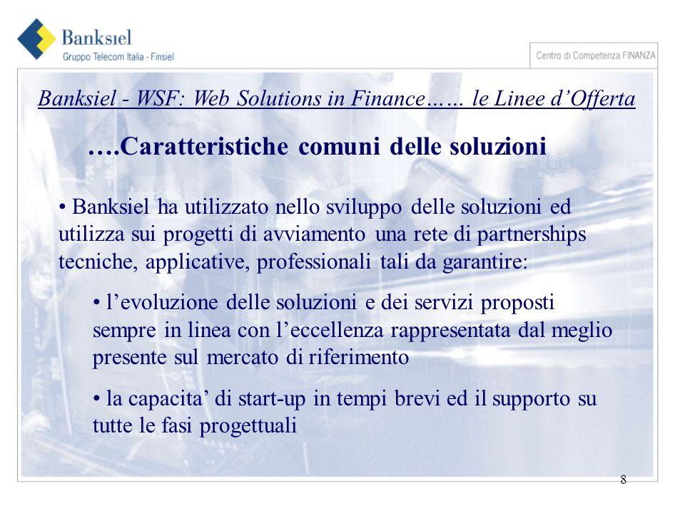 9 Banksiel - WSF: Web Solutions in Finance…… le Linee dOfferta Partnerships Board Partners Tecnologici Sun Microsystem Sybase Iona Data Consult Partners Applicativi/ di Rete Glamm/Data Service CAD IT / Netbureau Partners Professionali Tradermade