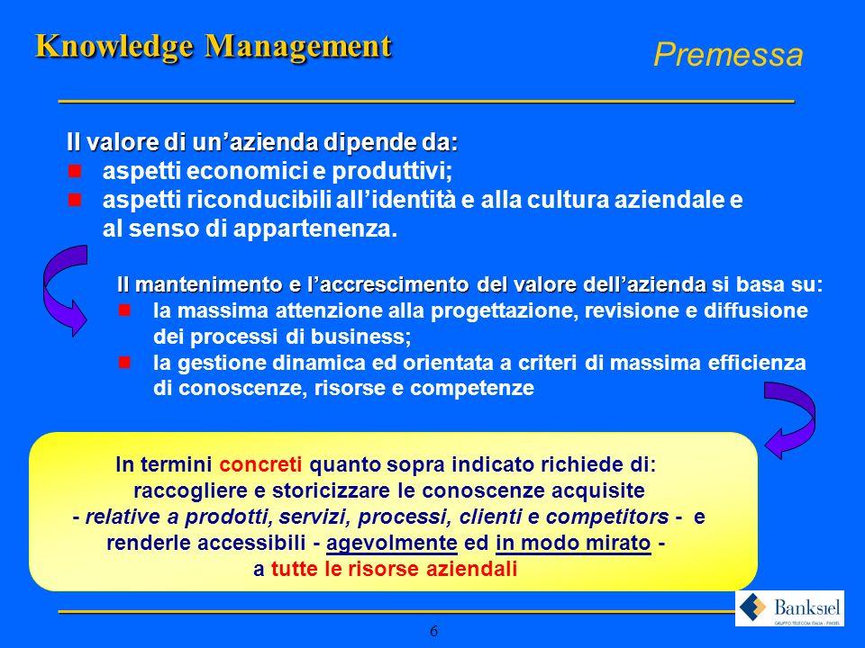 7 Piattaforma Knowledge Management n KNOWLEDGE SHARING Condivisione puntuale, tempestiva ed a basso costo della conoscenza (normativa, mansionario, nuovi prodotti, nuovi servizi alla clientela, …) n KNOWLEDGE CREATION Le azioni e i metodi che favoriscono i processi innovativi di conoscenza e, quindi, di miglioramento dei processi e di innovazione dellofferta n CUSTOMER KNOWLEDGE La conoscenza del cliente (integrazione con CRM) e del mercato Il Modello Knowledge Management