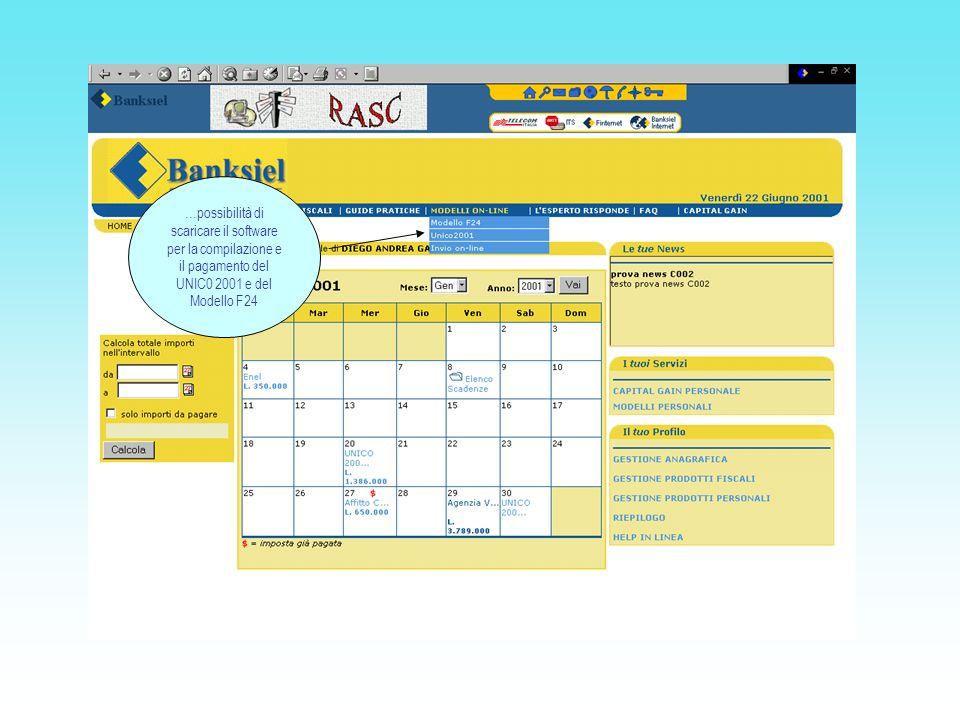 …possibilità di scaricare il software per la compilazione e il pagamento del UNIC0 2001 e del Modello F24