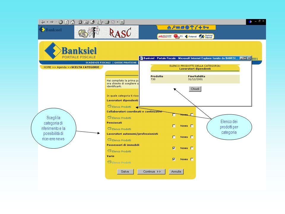Scegli la categoria di riferimento e la possibilità di ricevere news Elenco dei prodotti per categoria