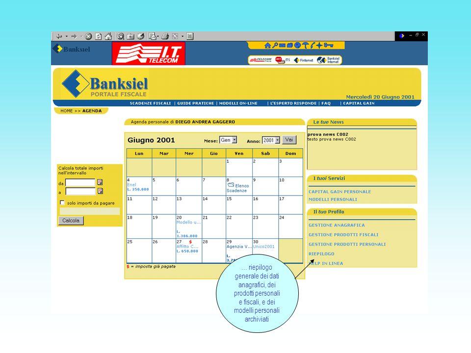 … riepilogo generale dei dati anagrafici, dei prodotti personali e fiscali, e dei modelli personali archiviati