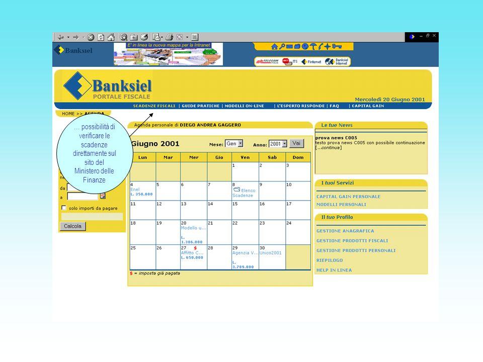 … possibilità di verificare le scadenze direttamente sul sito del Ministero delle Finanze