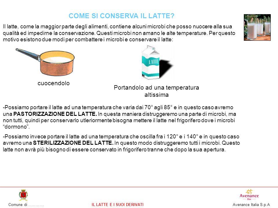 Comune di ………….IL LATTE E I SUOI DERIVATI Avenance Italia S.p.A COME SI CONSERVA IL LATTE? Il latte, come la maggior parte degli alimenti, contiene al