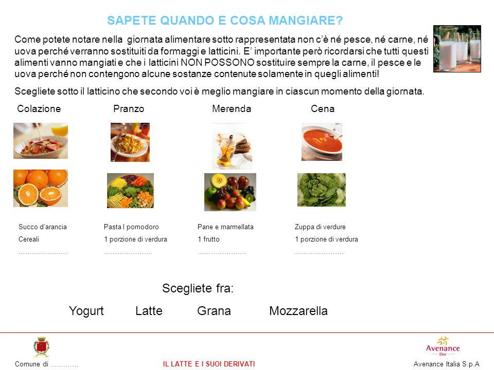 Comune di ………….IL LATTE E I SUOI DERIVATI Avenance Italia S.p.A SAPETE QUANDO E COSA MANGIARE? Come potete notare nella giornata alimentare sotto rapp