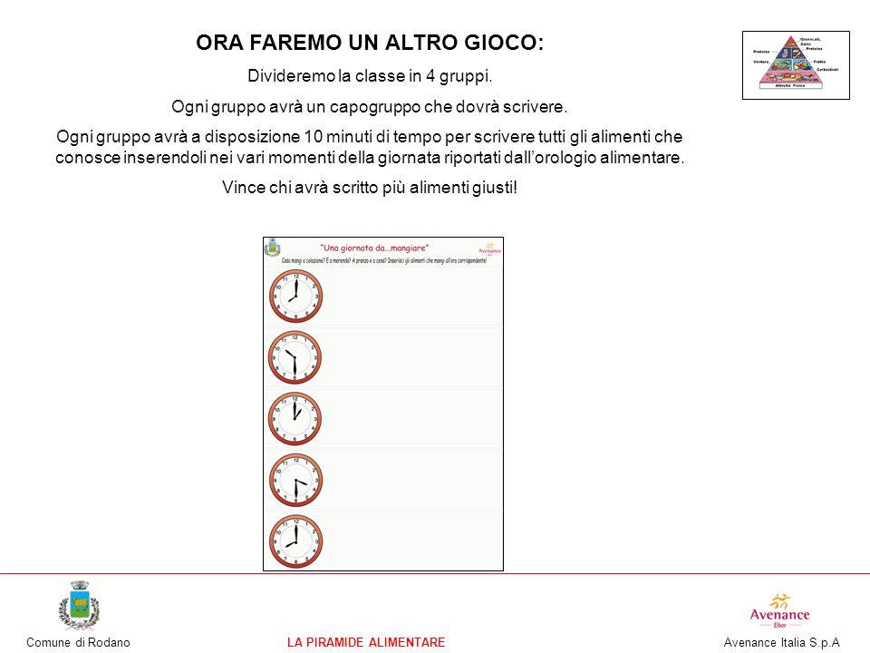 Comune di RodanoLA PIRAMIDE ALIMENTARE Avenance Italia S.p.A ORA FAREMO UN ALTRO GIOCO: Divideremo la classe in 4 gruppi. Ogni gruppo avrà un capogrup