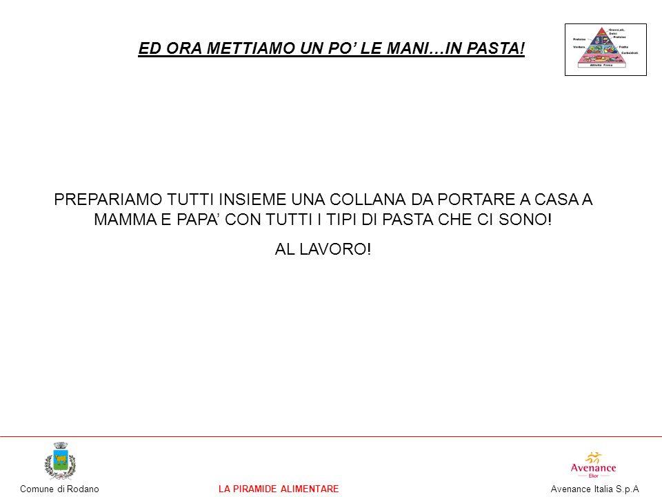Comune di RodanoLA PIRAMIDE ALIMENTARE Avenance Italia S.p.A ED ORA METTIAMO UN PO LE MANI…IN PASTA! PREPARIAMO TUTTI INSIEME UNA COLLANA DA PORTARE A