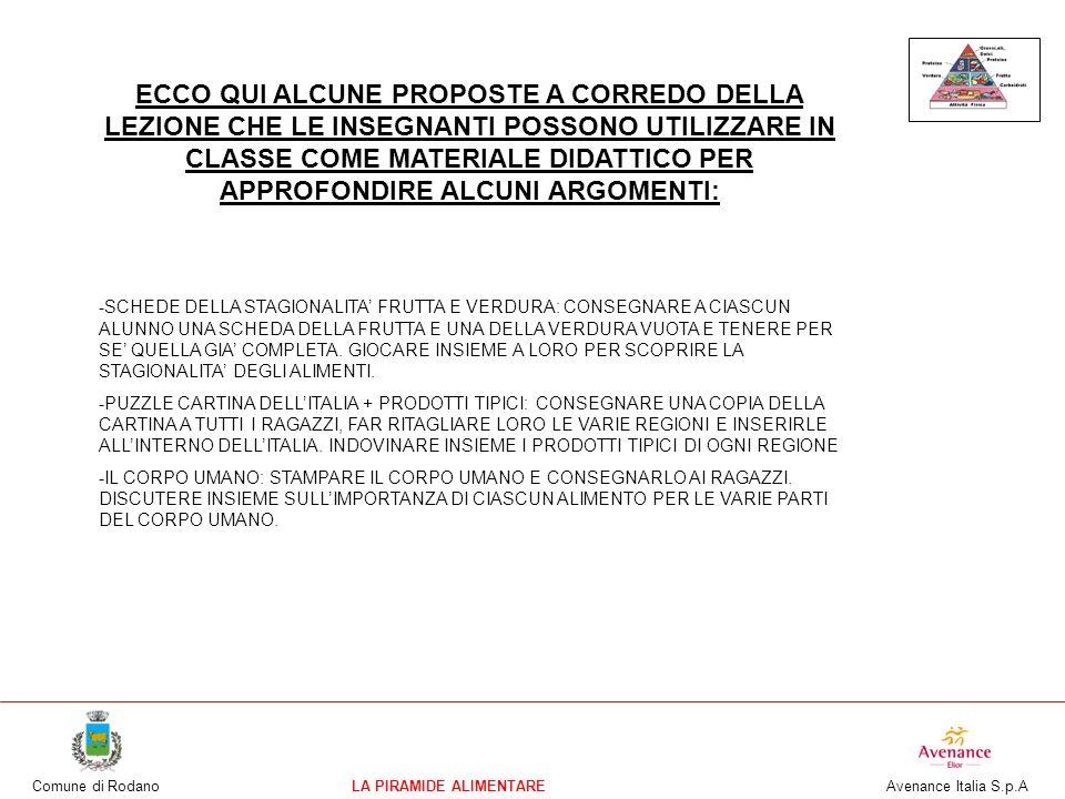 Comune di RodanoLA PIRAMIDE ALIMENTARE Avenance Italia S.p.A ECCO QUI ALCUNE PROPOSTE A CORREDO DELLA LEZIONE CHE LE INSEGNANTI POSSONO UTILIZZARE IN