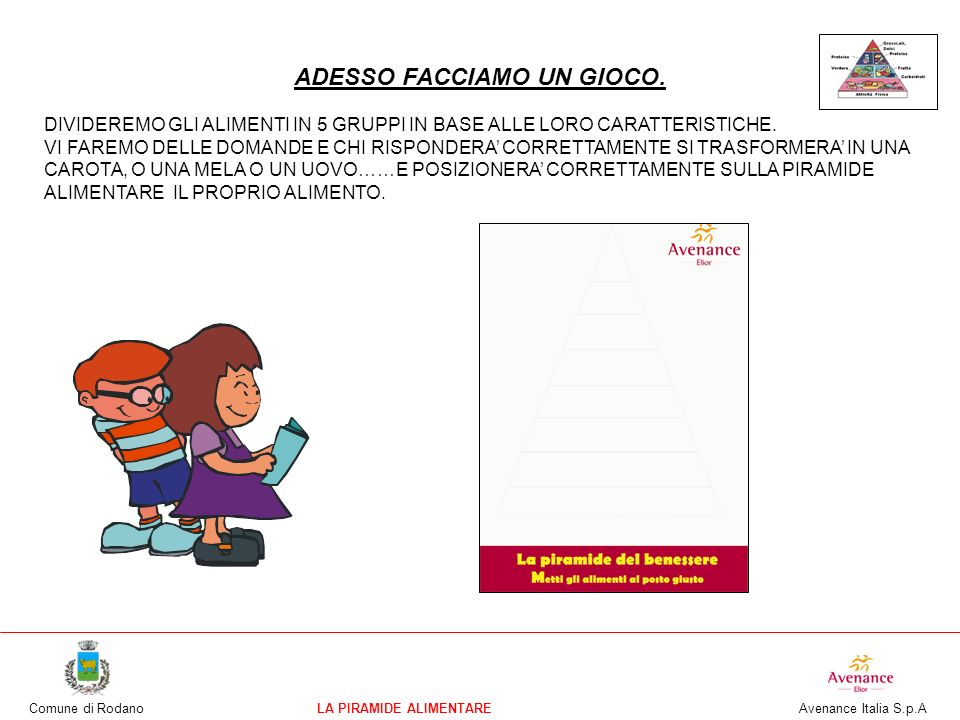 Comune di RodanoLA PIRAMIDE ALIMENTARE Avenance Italia S.p.A ECCO QUI ALCUNE PROPOSTE A CORREDO DELLA LEZIONE CHE LE INSEGNANTI POSSONO UTILIZZARE IN CLASSE COME MATERIALE DIDATTICO PER APPROFONDIRE ALCUNI ARGOMENTI: -SCHEDE DELLA STAGIONALITA FRUTTA E VERDURA: CONSEGNARE A CIASCUN ALUNNO UNA SCHEDA DELLA FRUTTA E UNA DELLA VERDURA VUOTA E TENERE PER SE QUELLA GIA COMPLETA.