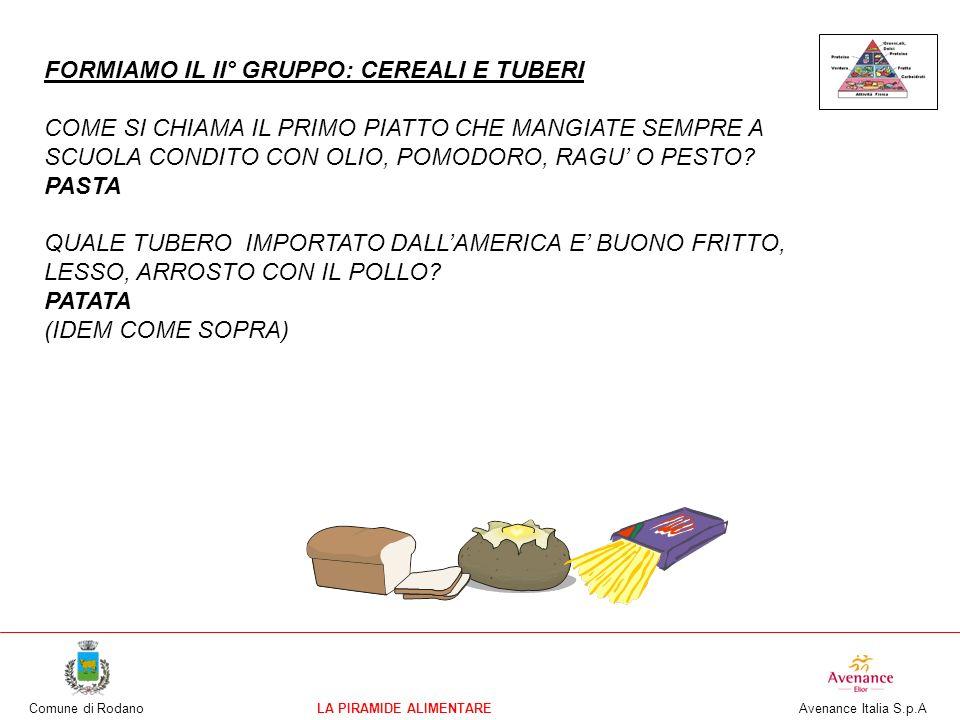 Comune di RodanoLA PIRAMIDE ALIMENTARE Avenance Italia S.p.A FORMIAMO IL II° GRUPPO: CEREALI E TUBERI COME SI CHIAMA IL PRIMO PIATTO CHE MANGIATE SEMP