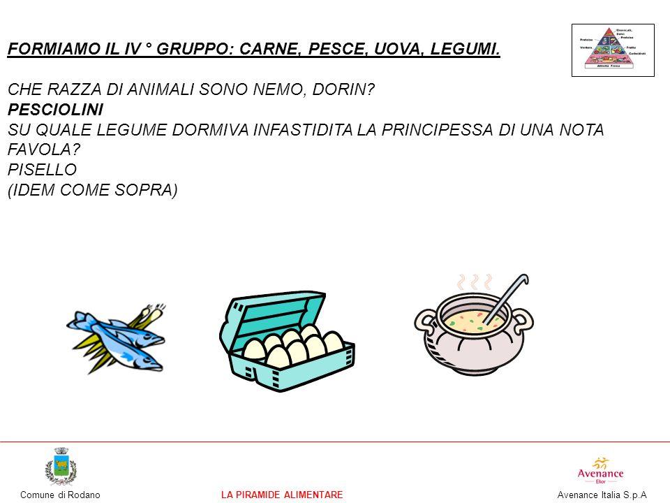 Comune di RodanoLA PIRAMIDE ALIMENTARE Avenance Italia S.p.A FORMIAMO IL IV ° GRUPPO: CARNE, PESCE, UOVA, LEGUMI. CHE RAZZA DI ANIMALI SONO NEMO, DORI