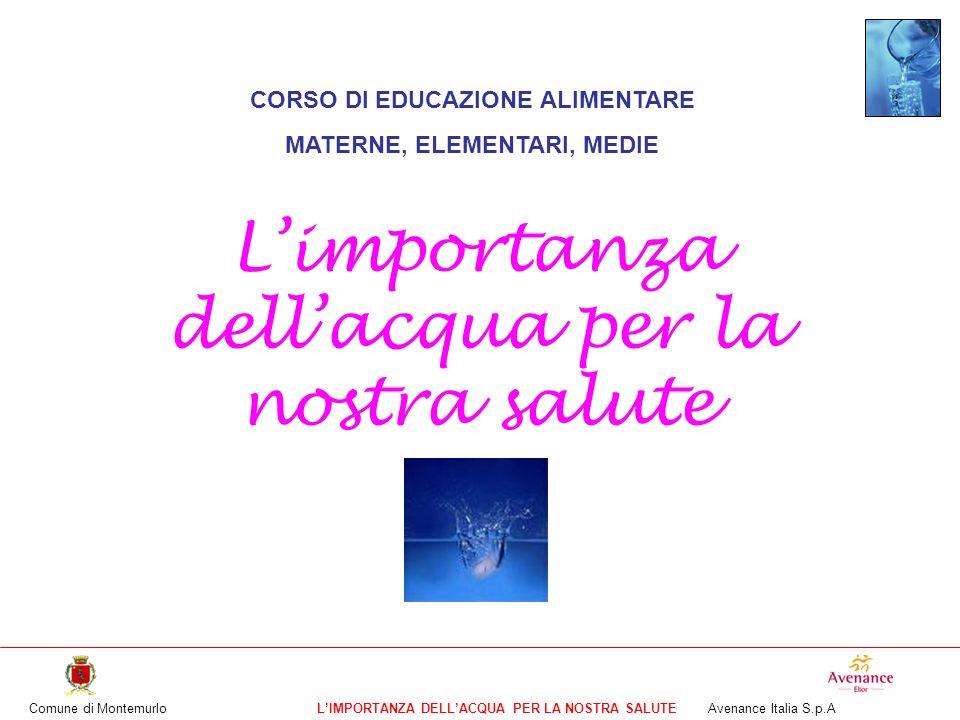 Comune di MontemurloLIMPORTANZA DELLACQUA PER LA NOSTRA SALUTE Avenance Italia S.p.A CORSO DI EDUCAZIONE ALIMENTARE MATERNE, ELEMENTARI, MEDIE Limport