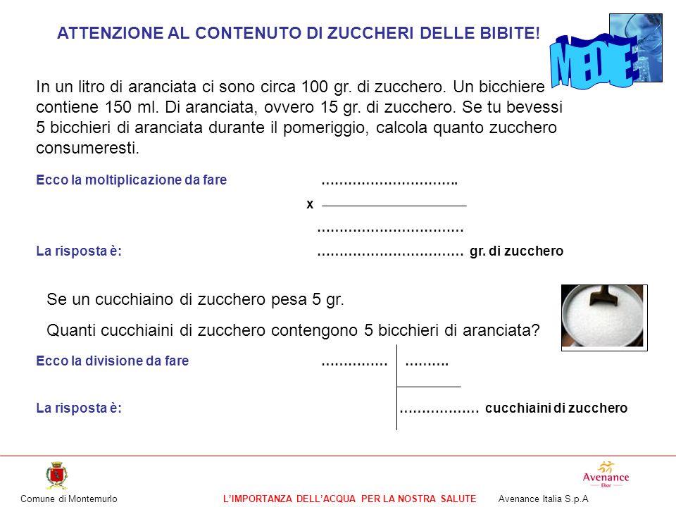 Comune di MontemurloLIMPORTANZA DELLACQUA PER LA NOSTRA SALUTE Avenance Italia S.p.A ATTENZIONE AL CONTENUTO DI ZUCCHERI DELLE BIBITE! In un litro di