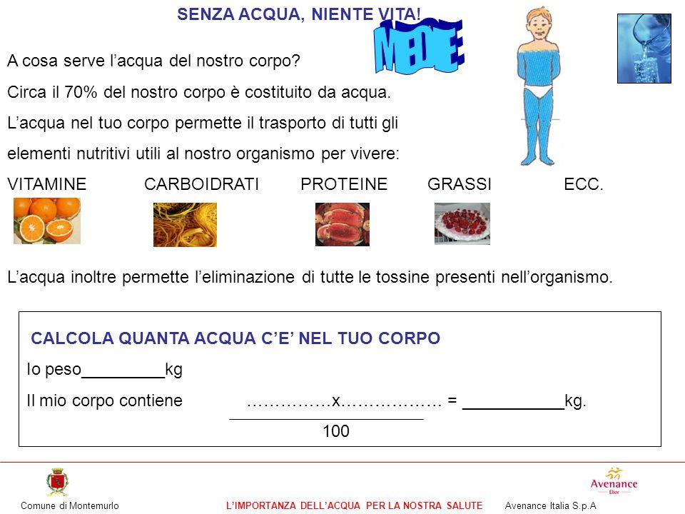 Comune di MontemurloLIMPORTANZA DELLACQUA PER LA NOSTRA SALUTE Avenance Italia S.p.A A cosa serve lacqua del nostro corpo? Circa il 70% del nostro cor