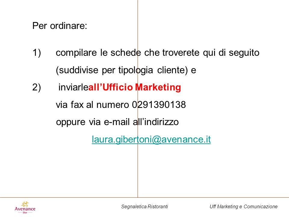 Uff Marketing e ComunicazioneSegnaletica Ristoranti Per ordinare: 1)compilare le schede che troverete qui di seguito (suddivise per tipologia cliente)