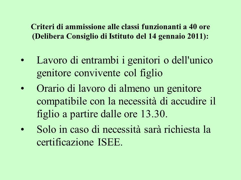 Criteri di ammissione alle classi funzionanti a 40 ore (Delibera Consiglio di Istituto del 14 gennaio 2011): Lavoro di entrambi i genitori o dell'unic