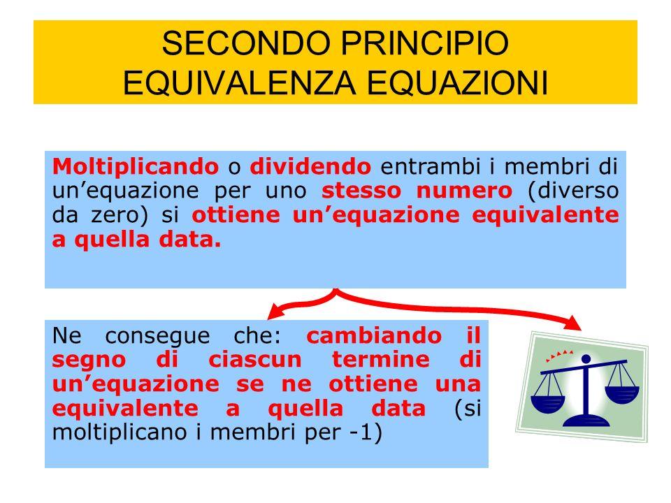 SECONDO PRINCIPIO EQUIVALENZA EQUAZIONI Moltiplicando o dividendo entrambi i membri di unequazione per uno stesso numero (diverso da zero) si ottiene unequazione equivalente a quella data.