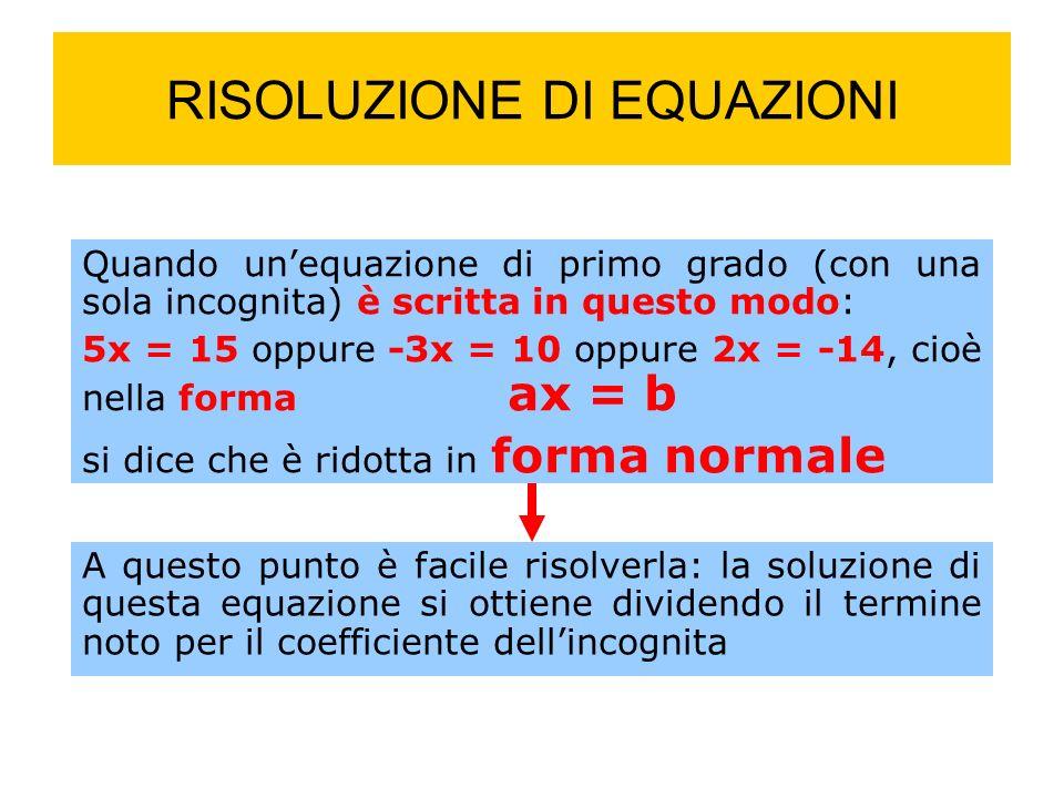 RISOLUZIONE DI EQUAZIONI Quando unequazione di primo grado (con una sola incognita) è scritta in questo modo: 5x = 15 oppure -3x = 10 oppure 2x = -14, cioè nella forma ax = b si dice che è ridotta in forma normale A questo punto è facile risolverla: la soluzione di questa equazione si ottiene dividendo il termine noto per il coefficiente dellincognita