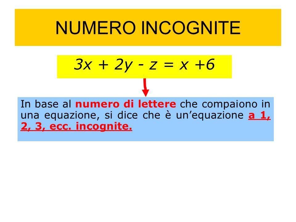 NUMERO INCOGNITE 3x + 2y - z = x +6 In base al numero di lettere che compaiono in una equazione, si dice che è unequazione a 1, 2, 3, ecc.
