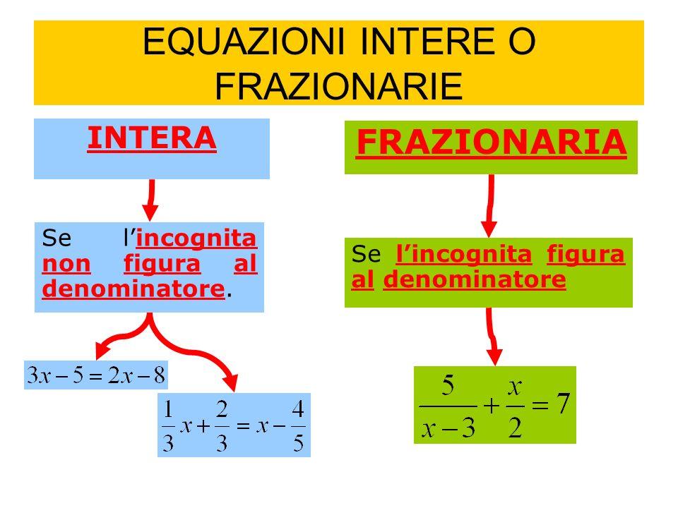 EQUAZIONI INTERE O FRAZIONARIE INTERA Se lincognita non figura al denominatore.