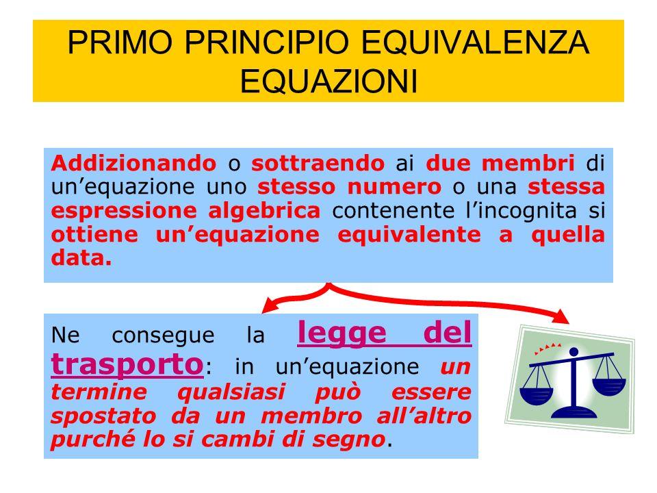 PRIMO PRINCIPIO EQUIVALENZA EQUAZIONI Addizionando o sottraendo ai due membri di unequazione uno stesso numero o una stessa espressione algebrica contenente lincognita si ottiene unequazione equivalente a quella data.