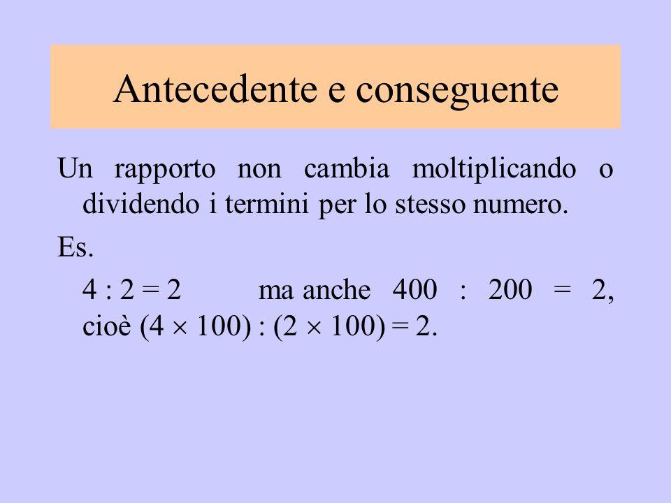 Un rapporto non cambia moltiplicando o dividendo i termini per lo stesso numero. Es. 4 : 2 = 2ma anche 400 : 200 = 2, cioè (4 100) : (2 100) = 2. Ante