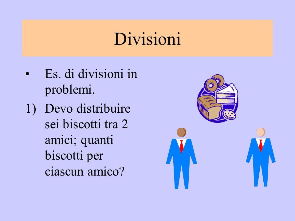 Divisioni Es. di divisioni in problemi. 1)Devo distribuire sei biscotti tra 2 amici; quanti biscotti per ciascun amico?