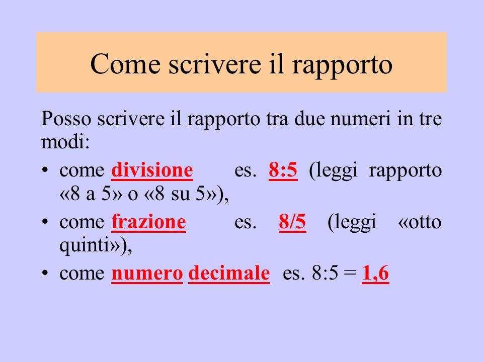 Posso scrivere il rapporto tra due numeri in tre modi: come divisione es. 8:5 (leggi rapporto «8 a 5» o «8 su 5»), come frazione es. 8/5 (leggi «otto