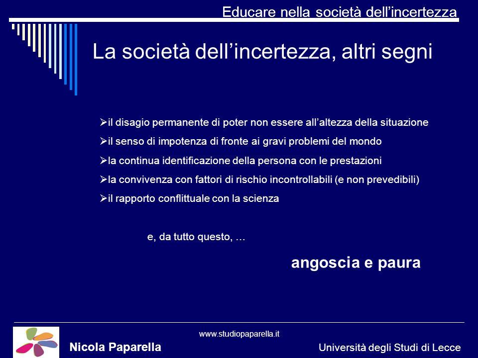 Educare nella società dellincertezza www.studiopaparella.it La società dellincertezza, altri segni Nicola Paparella Università degli Studi di Lecce il