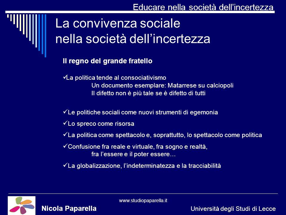 Educare nella società dellincertezza www.studiopaparella.it La convivenza sociale nella società dellincertezza Nicola Paparella Università degli Studi