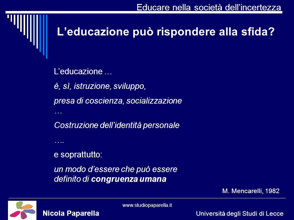 Educare nella società dellincertezza www.studiopaparella.it Leducazione può rispondere alla sfida.