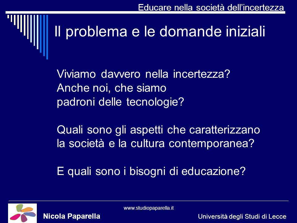 Educare nella società dellincertezza www.studiopaparella.it Il problema e le domande iniziali Nicola Paparella Università degli Studi di Lecce Viviamo davvero nella incertezza.