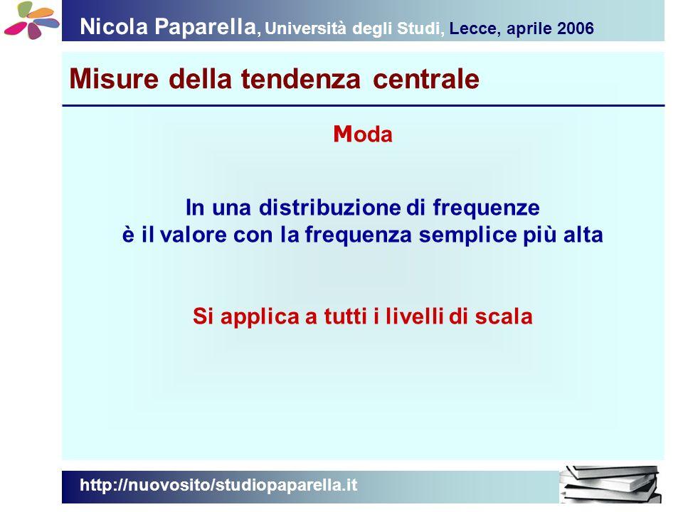Nicola Paparella, Università degli Studi, Lecce, aprile 2006 Misure della tendenza centrale http://nuovosito/studiopaparella.it M oda In una distribuzione di frequenze è il valore con la frequenza semplice più alta Si applica a tutti i livelli di scala