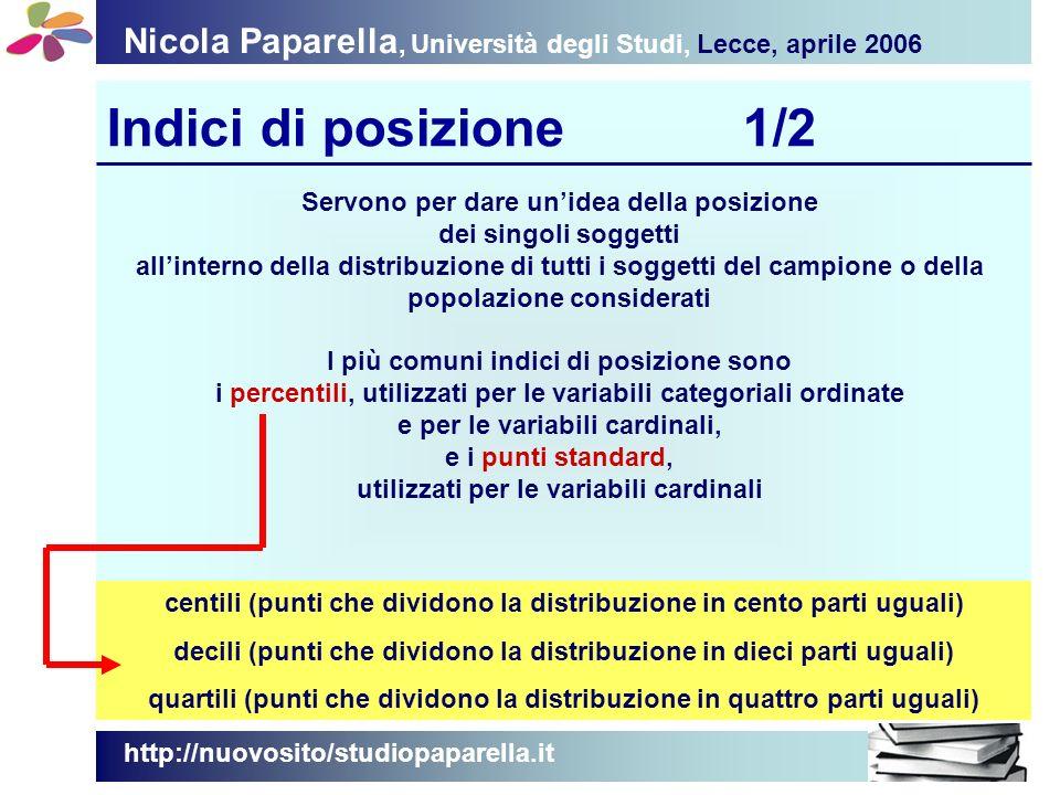 Nicola Paparella, Università degli Studi, Lecce, aprile 2006 Indici di posizione1/2 http://nuovosito/studiopaparella.it Servono per dare unidea della posizione dei singoli soggetti allinterno della distribuzione di tutti i soggetti del campione o della popolazione considerati I più comuni indici di posizione sono i percentili, utilizzati per le variabili categoriali ordinate e per le variabili cardinali, e i punti standard, utilizzati per le variabili cardinali centili (punti che dividono la distribuzione in cento parti uguali) decili (punti che dividono la distribuzione in dieci parti uguali) quartili (punti che dividono la distribuzione in quattro parti uguali)